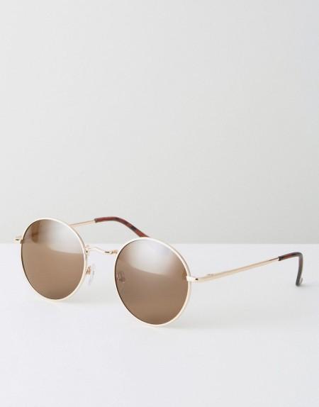 ASOS - Runde Sonnenbrille aus Metall in Gold im Stil der 90er - Gold