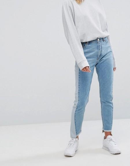 Monki - Kimomo Sparkle - Mom-Jeans mit Einsätzen an den Seiten - Blau