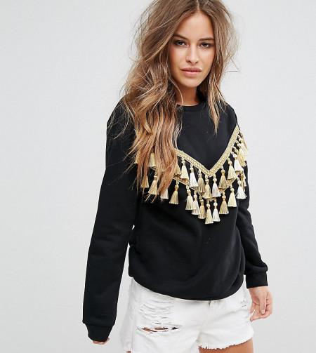 Glamorous Petite - Lässiges Sweatshirt mit Quastenverzierung und Zickzack-Muster - Schwarz
