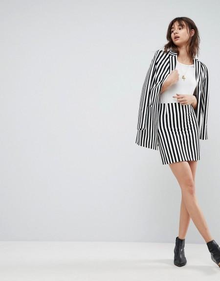 ASOS Tailored - Minirock mit schwarz-weißen Streifen - Mehrfarbig