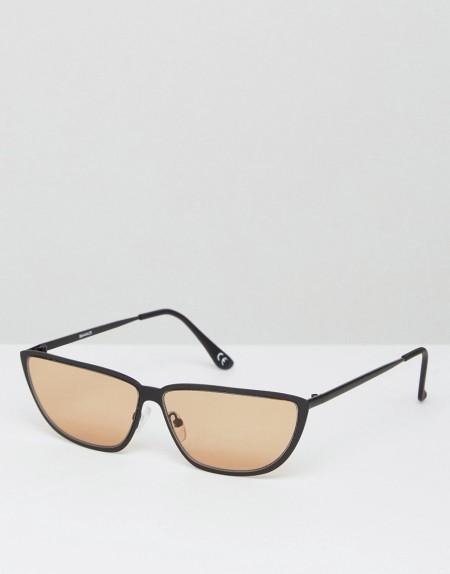 ASOS - Kleine, modische Katzenaugen-Sonnenbrille im Stil der 80er Jahre aus Metall mit hellbraunen Gläsern - Schwarz