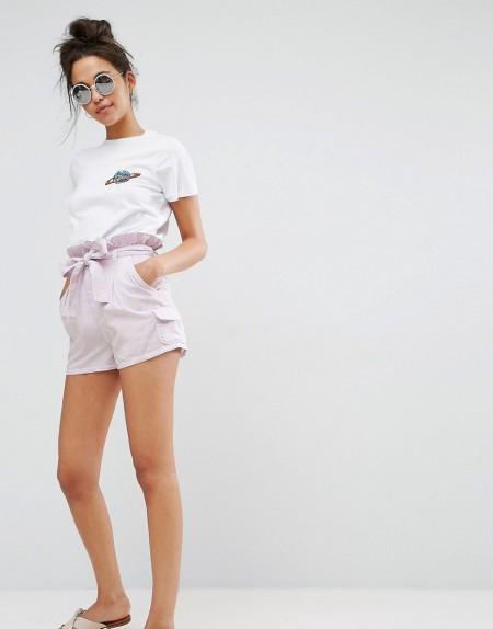 ASOS - Paperbag Waist - Mom-Shorts - Rosa