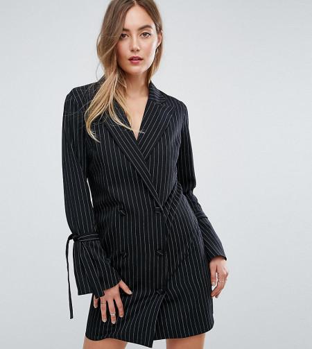 Missguided Tall - Kleid im Smoking-Stil mit Nadelstreifen und Schnürung an den Ärmeln - Schwarz
