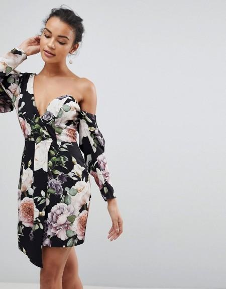 ASOS - Kurzes CocktailKleid mit dunklem Blumenmuster - Mehrfarbig