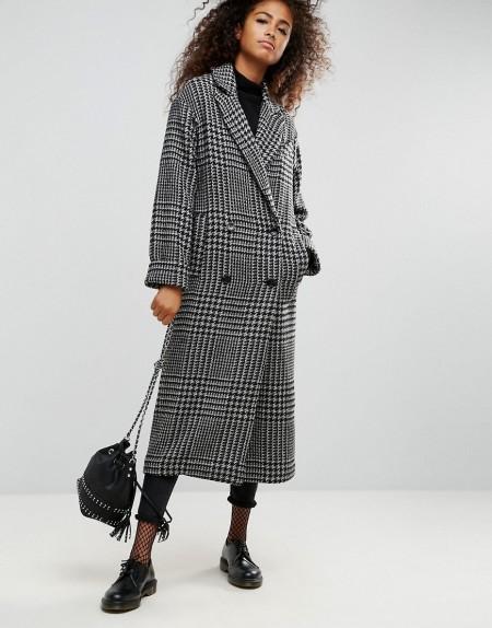 ASOS - Langer Mantel mit traditionellem Karomuster - Mehrfarbig