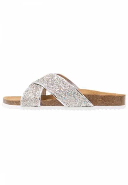OFFICE: HOXTON  - Pantolette flach - silver irridescent glitter