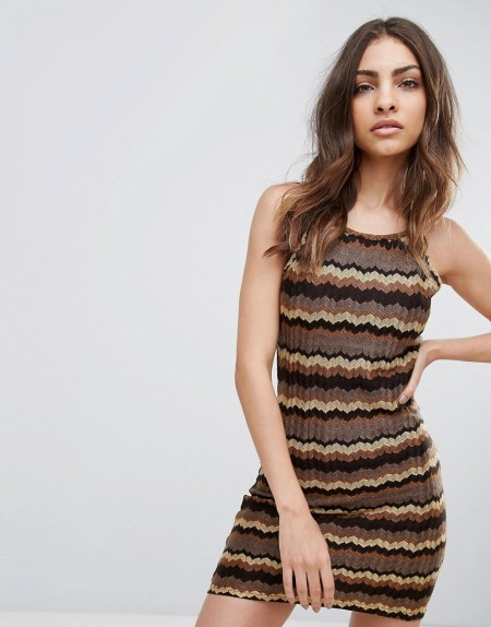 Glamorous - Kleid mit Zickzackmuster - Braun