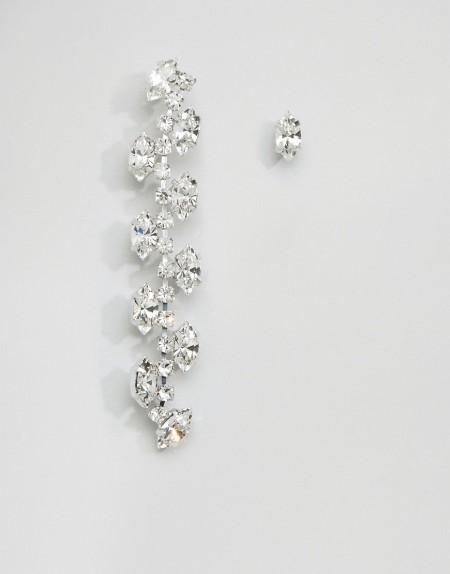 Krystal London - Trellis - Unterschiedliche Ohrstecker mit Swarovski-Kristall - Silber