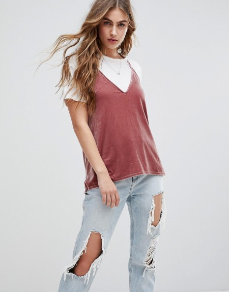 Abercrombie & Fitch - Samt-Camisole - Rosa