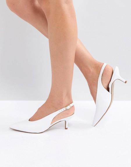 Carvela - Amy - Spitze Schuhe aus weißem Leder mit Kitten-Heel - Weiß