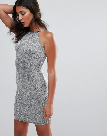 Oh My Love - Figurbetontes Kleid mit eckigem Ausschnitt - Silber