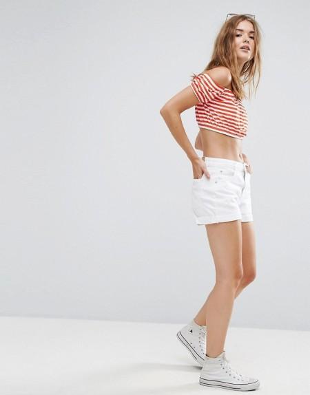 PULL&BEAR: Pull&Bear - Jeans-Shorts mit aufgerolltem Saum - Weiß
