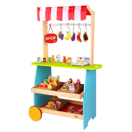 Tooky Toy: Kinder Kiosk Marktstand Holz Kaufladen mit Zubehör