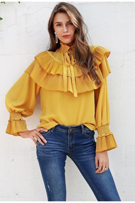 Fashion Movements: Yellow ruffle lace up vintage blouse