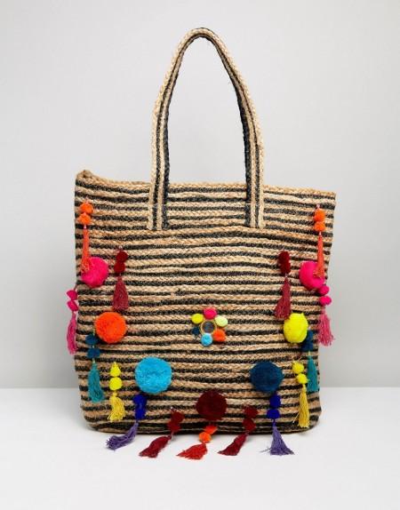 Raga - Beach Vibes - Strandtasche aus Stroh mit Bommeln - Mehrfarbig