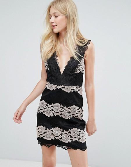 Liquorish - Kleid mit Spitze - Schwarz