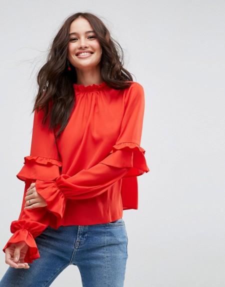 ASOS - Hochgeschlossene Bluse mit gerüschten Ärmeln - Rot