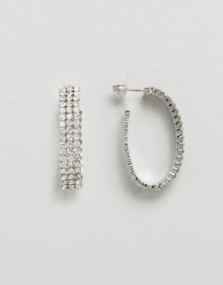 DesignB London - Kreolen in Silber und Kristall - Silber