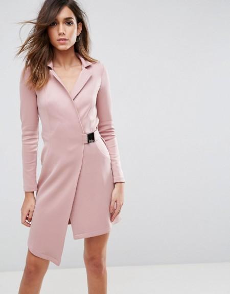 ASOS Premium - Blazer-Kleid mit Schnalle an der Taille - Rosa
