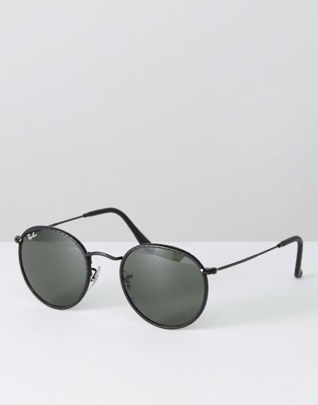 Ray-Ban: Ray Ban - Klassische, runde Sonnenbrille mit Lederrahmen - Schwarz