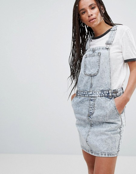 Noisy may: Noisy May - Lara - Mini-Latzkleid aus Jeans - Blau