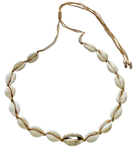 Knocknok: Muschel-Halskette Kauri natur goldene Kauri