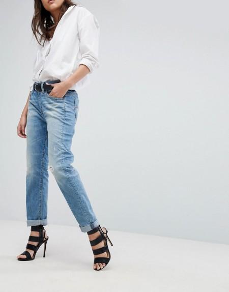 G-Star - Midge Saddle - Boyfriend-Jeans mit aufgerolltem Saum - Blau