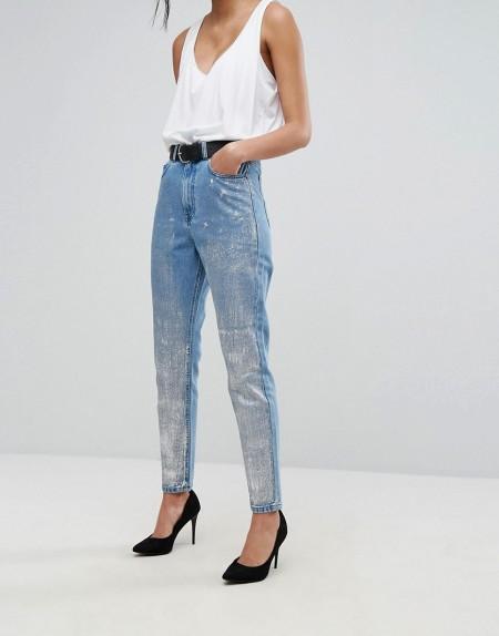 Dr Denim - Mom-Jeans mit silberner Beschichtung - Silber