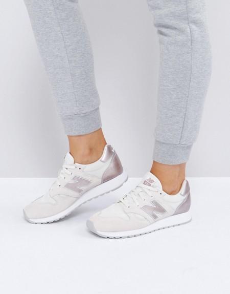New Balance - 520 - Graue Sneaker aus Wildleder mit Besatz in Silber-Metallic - Grau
