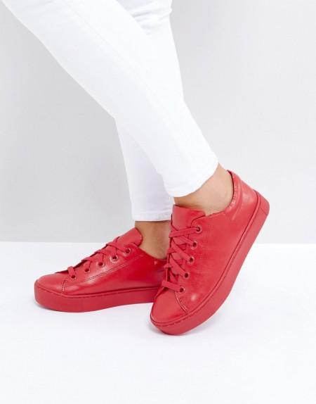Monki - Sneaker zum Schnüren - Rot