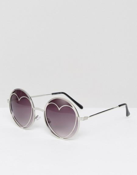 Missguided - Silberfarbene Sonnenbrille in Herzform - Silber