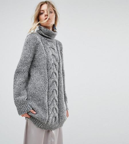 Oneon: OneOn - Hochgeschlossenes, handgesticktes Kleid mit Zopfmuster - Grau