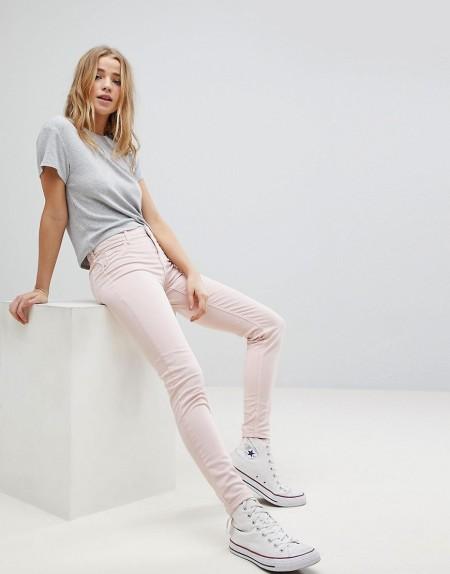 Bershka - Enge Jeans - Rosa