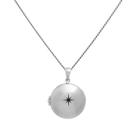 blue billie: Star Locket Silver Necklace
