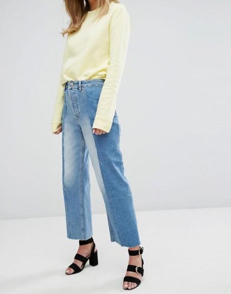 Warehouse - Jeans mit geradem Schnitt in Blockfarben - Blau