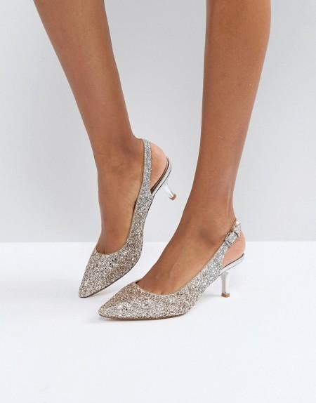 COAST: Coast - Glitzernde, spitze Schuhe mit Kitten-Heel-Absatz - Silber