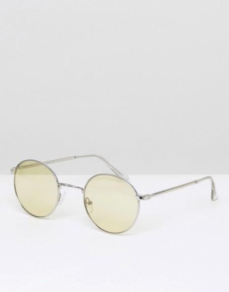 ASOS - Runde Sonnenbrille in Silber mit gelben Gläsern - Gelb