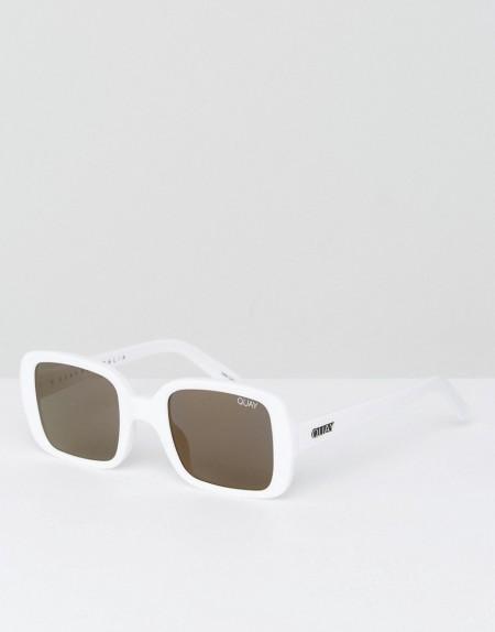 QUAY AUSTRALIA: Quay Australia X Kylie Jenner - Eckige, weiße Oversize-Sonnenbrille im Stil der 20er-Jahre - Weiß