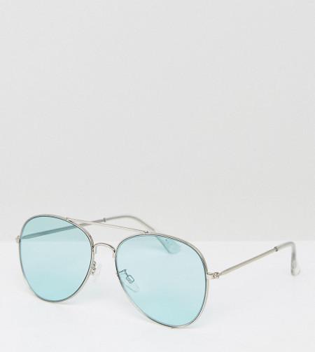 Monki - Pilotenbrille mit farbigen Gläsern - Blau