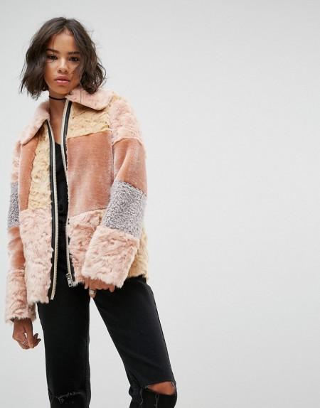 ASOS - Jacke aus Kunstfell mit Patchwork-Design - Mehrfarbig
