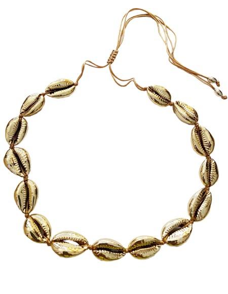 Knocknok: Muschel Halskette Goldene Kauri Muscheln