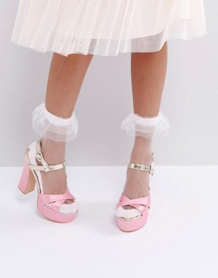ASOS - Socken mit transparenter Tüllrüsche - Weiß