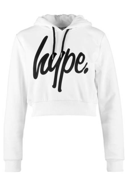 Hype: SCRIPT WOMENS CROP HOODIE - Kapuzenpullover - white