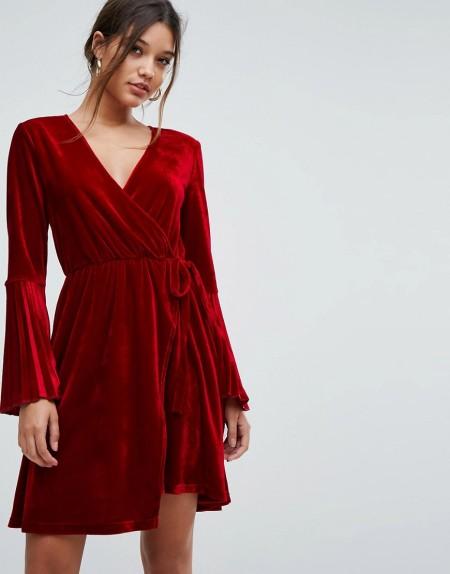 Aeryne - Wickelkleid aus Samt mit Zierfalten an den Ärmeln - Rot