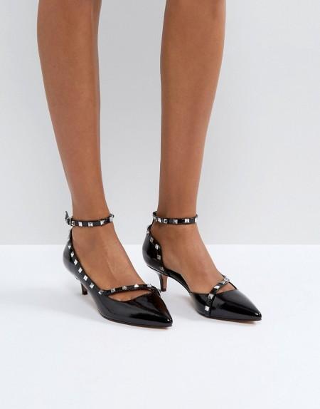 ASOS - SABRE - Schuhe mit Nieten und Kitten-Heel-Absatz - Schwarz