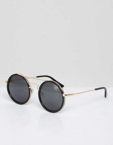 Black Phoenix - Runde Sonnenbrille mit Steg - Schwarz