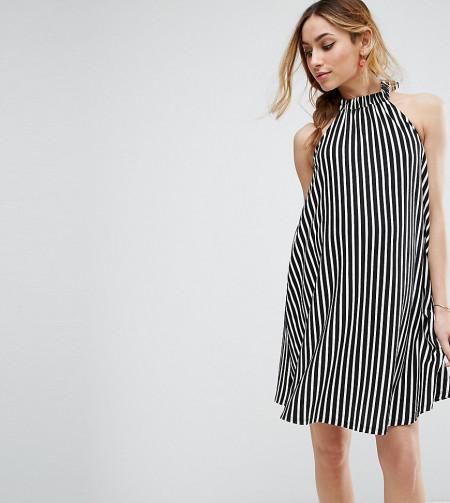 ASOS Maternity - Ausgestelltes Neckholder-Kleid mit Streifen - Mehrfarbig