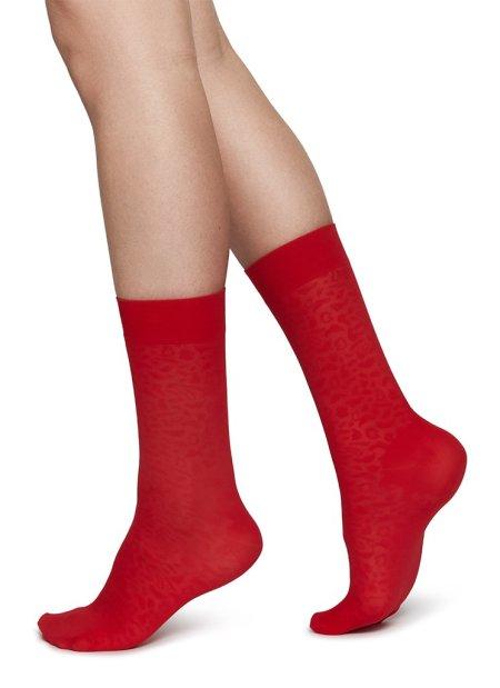 Swedish Stockings: EMMA LEOPARD SOCKS SHARP RED