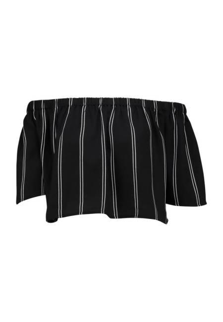 NA-KD: PINSTRIPED OFF SHOULDER - Bluse - schwarz