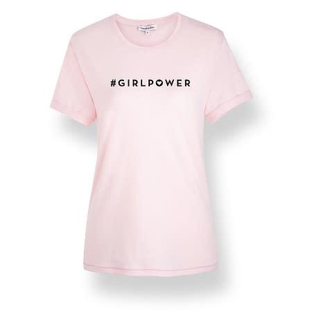 initielle T-Shirt #girlpower Herz rosa